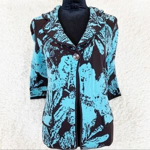 CHICO'S Blue & Brown Silk Floral Cardigan Sweater